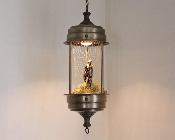 Mid-Century Rain Hanging Lamp with a Greek Goddess