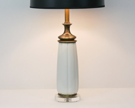 Hollywood Regency Lamp by Stiffel . Brass and Lenox Porcelain Remounted on Lucite FOR LACEY T