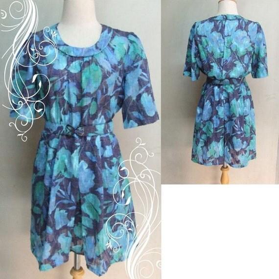 SUPER blue and green floral water color Shirtwaist dress bust 40 waist 32