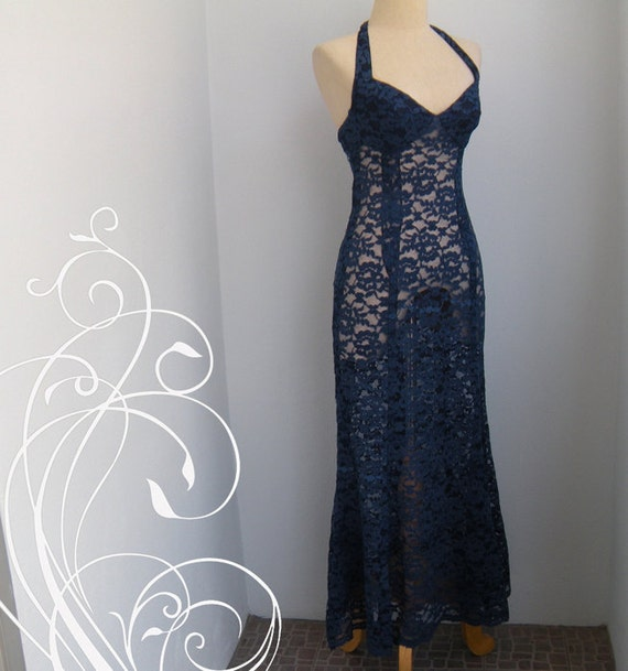 Bombshell Halter Floral Lace Cocktail Party Dress bust 32 waist 25