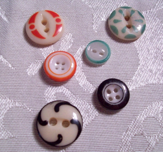 Antique, Vintage China Stencil and Ringer Buttons -  - 6 in lot -  ( Set C-5 )