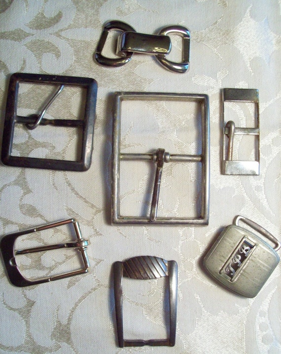 Antique and Vintage Large Silver Belt Buckles in 7 in lot  ( One buckle is bronze)