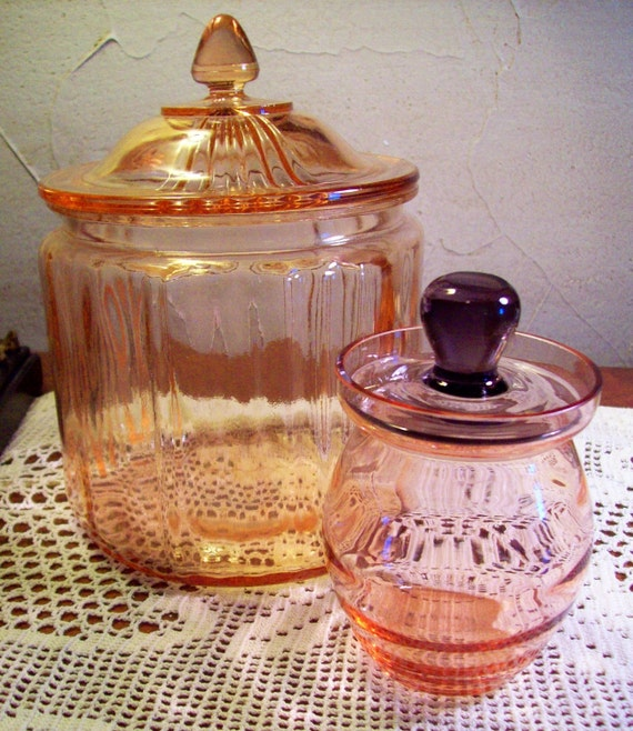 CLEARANCE- Antique Pink - Rose  Depression Cookie Jar and Pink Depression Jam Jar with Amethyst lid -