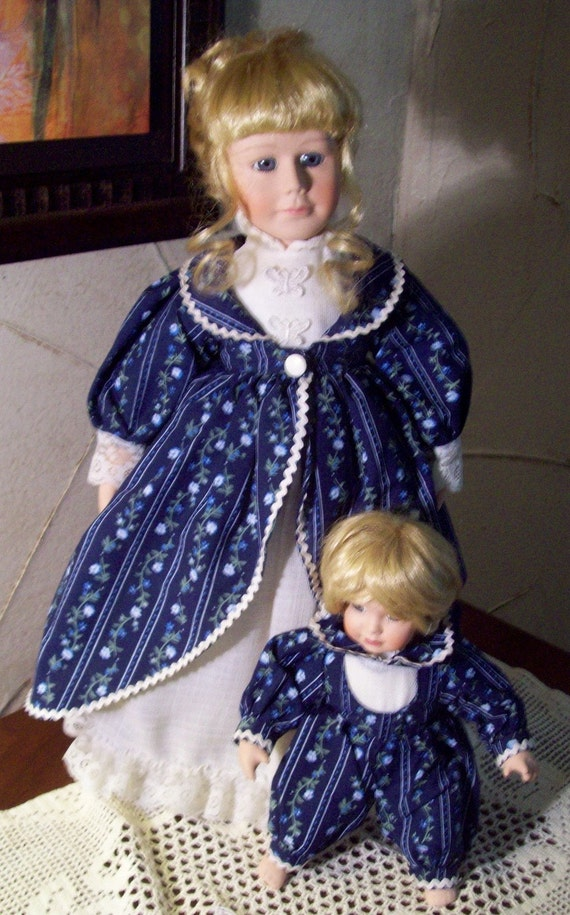 Vintage Dolls Mother and Baby,  Victorian doll - Porcelain  - 16 inch-  Adjustable Stand