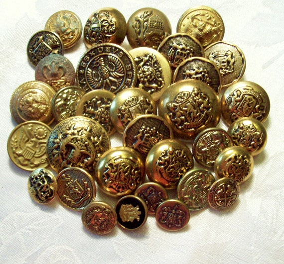 Antique and Vintage Old Gold  Military Metal Buttons -  34 in Lot