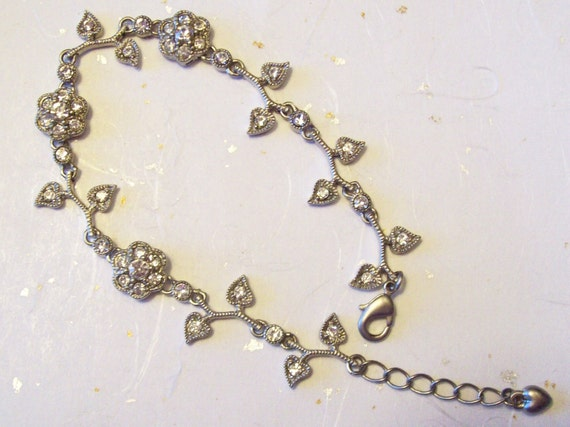 Vintage Silver Bracelet with 44 Clean Clear Rhinestones - Perfect Condition