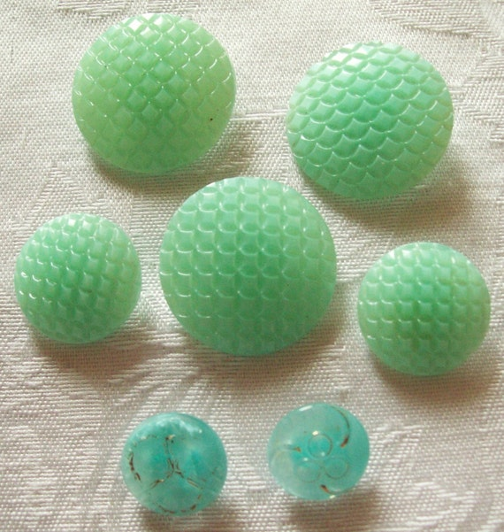 7 Beautiful Antique  Mint and Aqua Glass Buttons, 7 in lot - 1930's