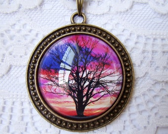 Tree of Life - Sunset, Polaroid Photo Necklace, Altered Art, Bubble Glass Pendant Necklace