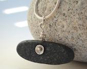 Grey Granite Slice Beach Stone Necklace