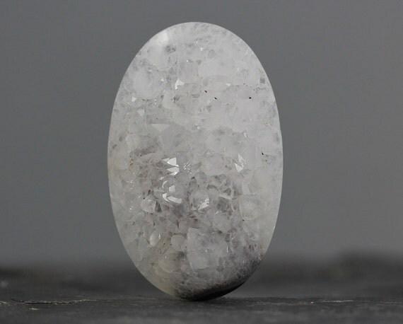 Gigantic, Quartz Druzy Oval Gem Cabachon - Excellent Large Crystal Formations - 69mm (1875)
