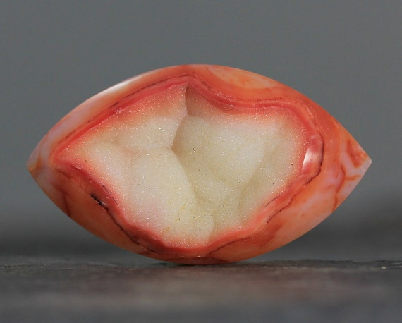 CLEARANCE - SALE - Large Marquis Druzy Gemstone, Orange Wire Wrapping Stone Cab Drusy - 48mm (1900)