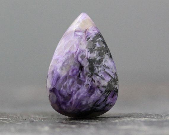 Purple Russian Charoite Natural Teardrop Stone - 26mm (2027)
