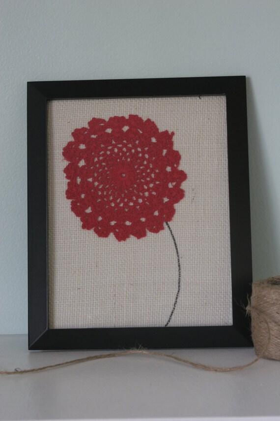 Red Poppy Wall Decor : Red poppy vintage doily burlap framed wall art decor