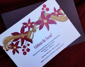 Poinsettia and Ribbon Printable Holiday Invitation
