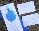 Printable Decorative Peacock Invitation, RSVP and Reception Design