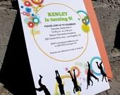 Printable Colorful Bubbles Gymnastics Invitation Design