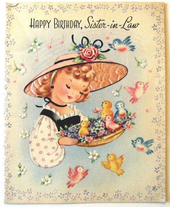 Vintage Birthday Wishes For Sister ~ Vintage birthday card happy sister in law