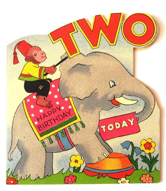 Vintage  Birthday Card - Happy Birthday Two Today UNUSED