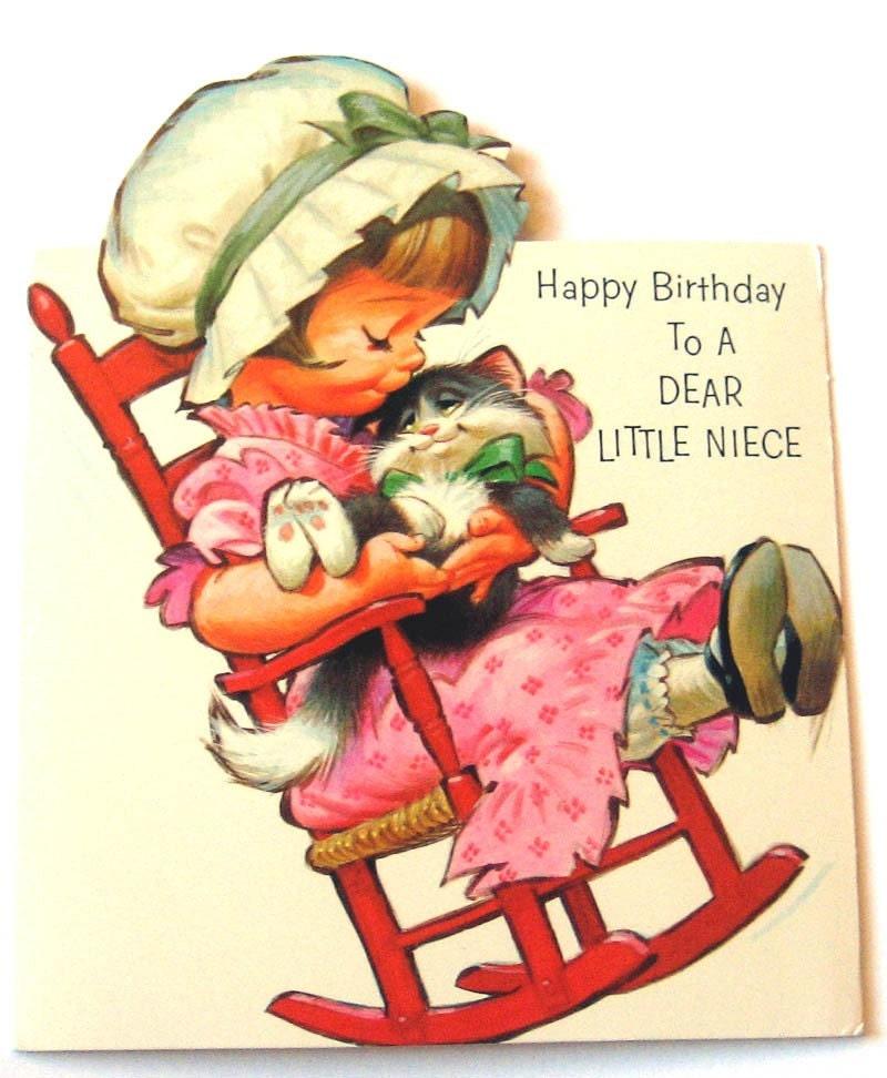Vintage Birthday Card Happy Birthday To A Dear Little Niece
