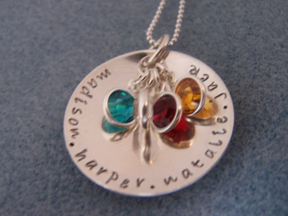 Personalized Handstamped Mothers Cupped Necklace - Sterling Silver