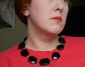 Black Tie - chunky black necklace -