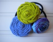 Set of Three Rolled Rosette Ponytail Holders in Green Meadows