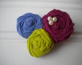 Rolled Rosettes Hair Clip in Pea Green, Lavender and Burgundy