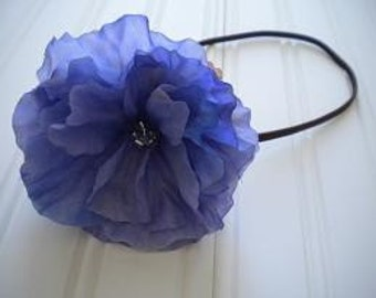 Blue Morning Glory Headband with Brown Elastic Band