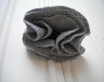 Gray Cloth Rosette Pin