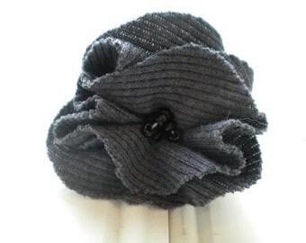 Dark Gray Cloth Rosette Pin