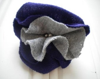Purple and Gray Cloth Rosette Pin