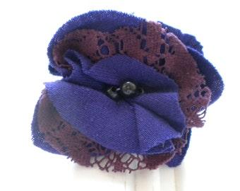 Purple Cloth with Purple Lace Rosette Pin