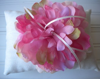 Pink Peony Ring Bearer Pillow