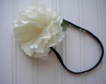 White Morning Glory Headband with Black Elastic Band