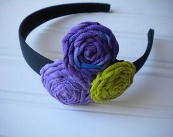 SALE-Fabric Rosette Headband - Purple, Tyedye Purple and Blue and Lime Green