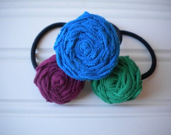 Set of Three Rolled Rosette Ponytail Holders in Solid Bold