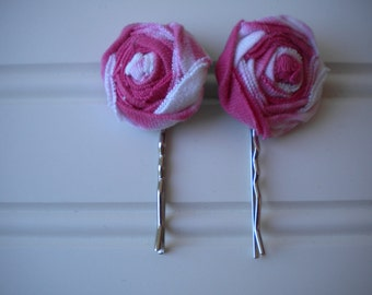 Pair of Pink and White Rolled Rosette Bobby Pins