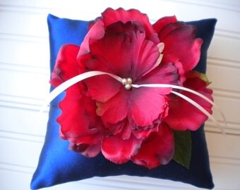 Red and Blue Peony Ring Bearer Pillow
