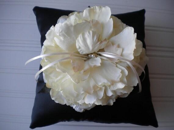 Cream Peony Ring Bearer Pillow