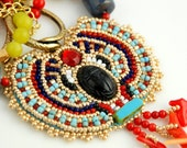 SALE - Egyptian Jewelry, Statement necklace, Scarab Beaded Necklace, Red Coral Necklace, Pendant Necklace, Bead Embroidered