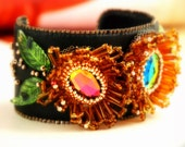 SALE - Deep Forest Chrysanthemum - Bead Embroidered Bracelet, Leather Cuff Bracelet, Beads Bracelet