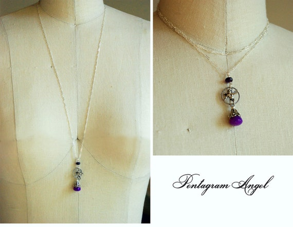 Pentagram Angel - Long Sterling Silver Chain Necklace with Pendant, Amethyst and Purple Chalcedony Gems, Long Silver Pendant Necklace