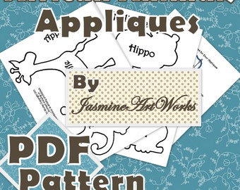 African Animals Appliques PDF Pattern Template Bonus Embroidery Instructions