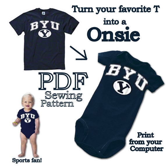Turn Your T-Shirt into a Onsie PDF Sewing Pattern