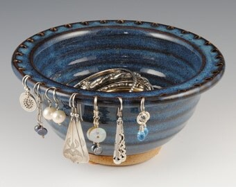 Jewelry Bowl - Earring Holder - Earring Bowl -Jewelry Organizer - Denim Blue Glaze - Earring Hanger