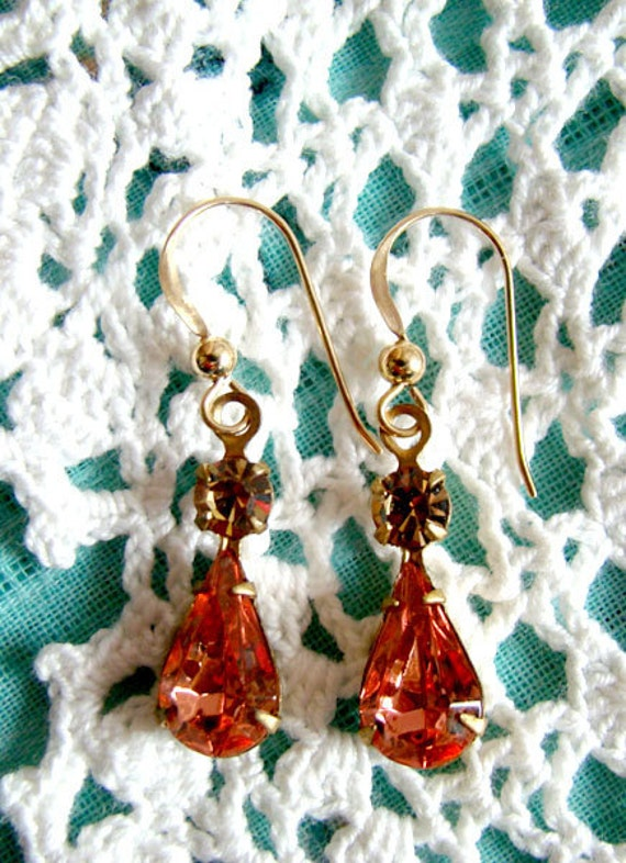 Peach Swarovski Rhinestone, Vintage Style, 14 kt gold filled earrings