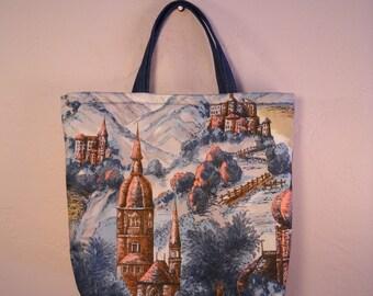 Unique Bag 1950s Vintage Fabric European Travel  Purse Blue