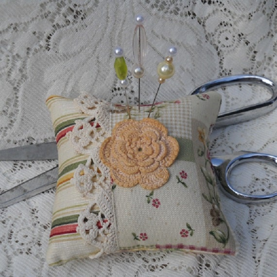 Pincushion Country Cottage Chic Fancy Pins Vintage Lace