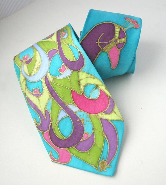 Silk  Necktie- Turquoise Peacock Hand Painted. Carnival Colors.