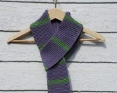 purple and green striped knitted scarf- SALE- FREE US Shipping